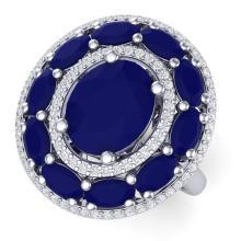8.05 CTW Royalty Designer Sapphire & VS Diamond Ring 18K Gold - REF#-174T5K-39243