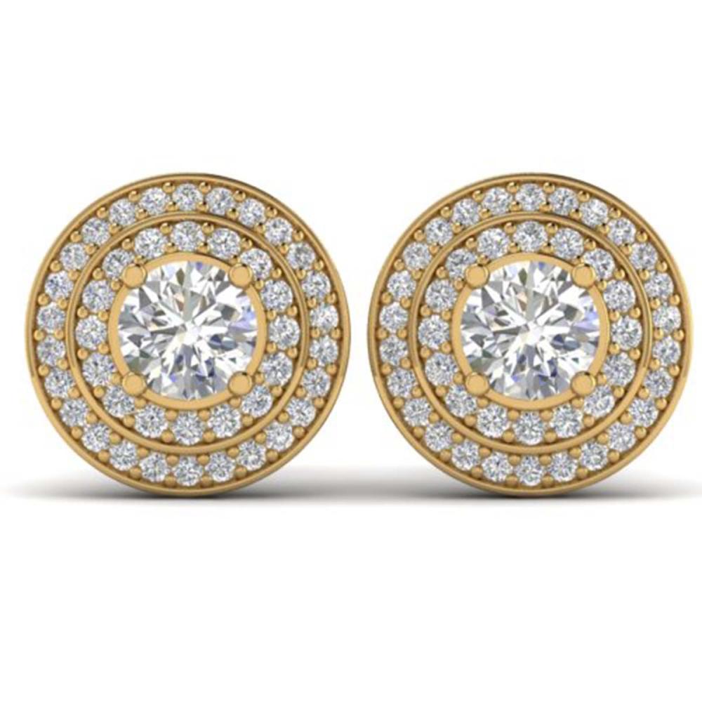 1.45 ctw I-SI Diamond Art Deco Halo Stud Earrings 14K Yellow Gold - REF-126F2N - SKU:30368