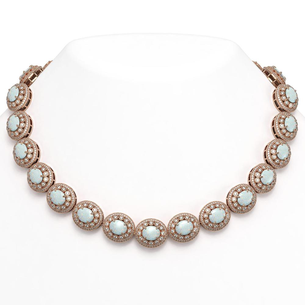 91.75 ctw Opal & Diamond Necklace 14K Rose Gold - REF-3090K4W - SKU:43701