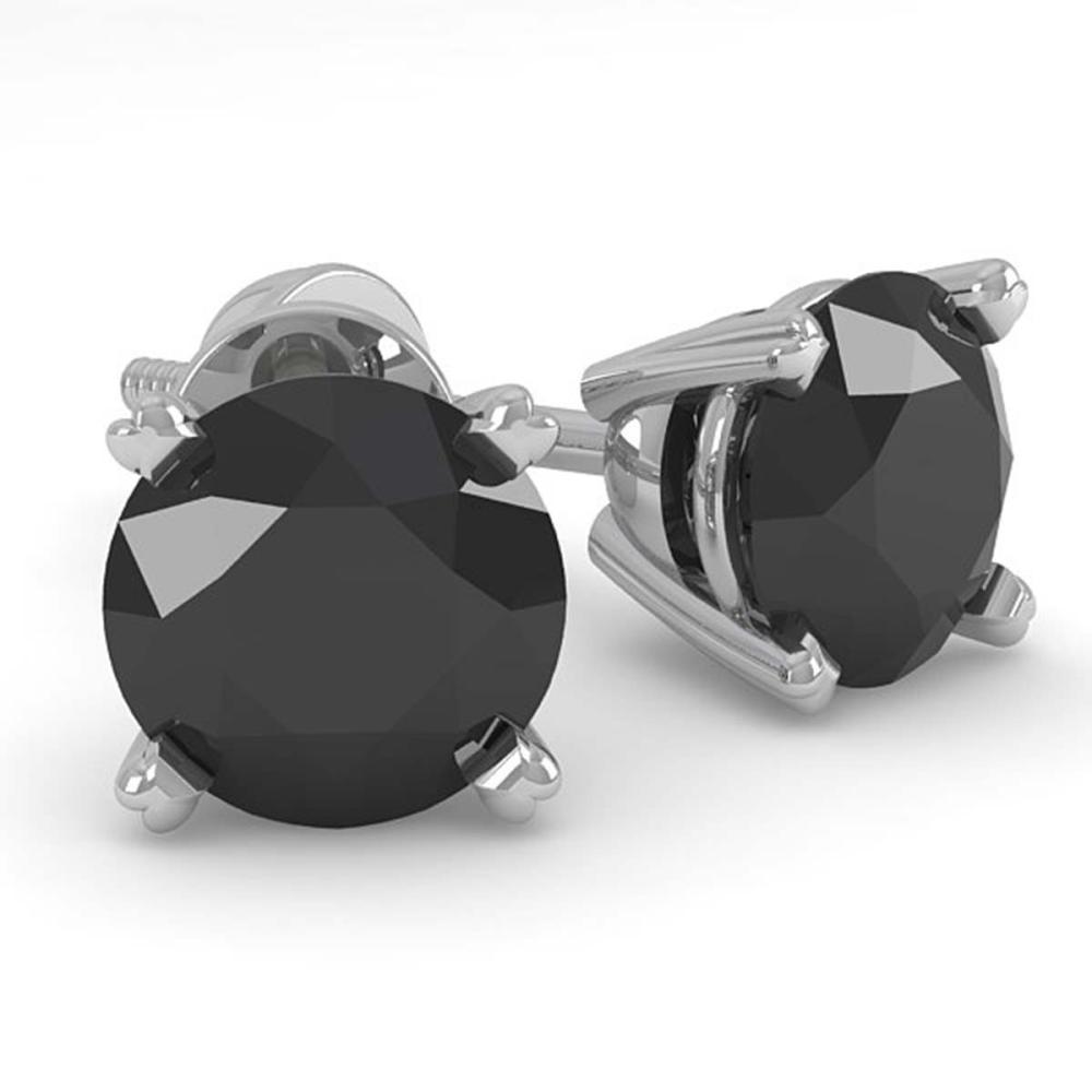 1.0 ctw Black Diamond Stud Earrings 18K White Gold - REF-34R4K - SKU:32268
