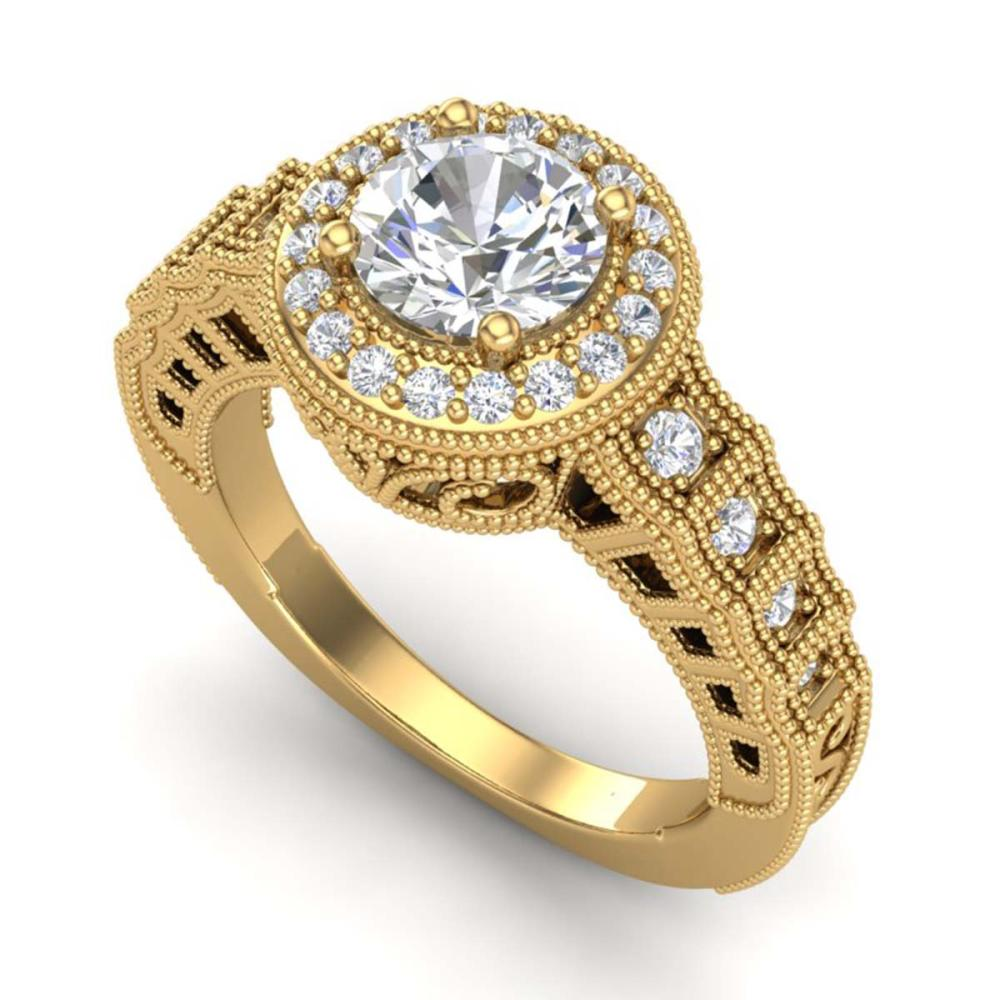 1.53 ctw VS/SI Diamond Art Deco Ring 18K Yellow Gold - REF-454R5K - SKU:36961