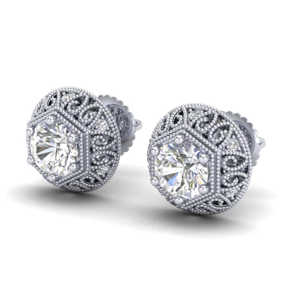 1.31 ctw VS/SI Diamond Solitaire Art Deco Stud Earrings 18K White Gold - REF-236W4H - SKU:36920