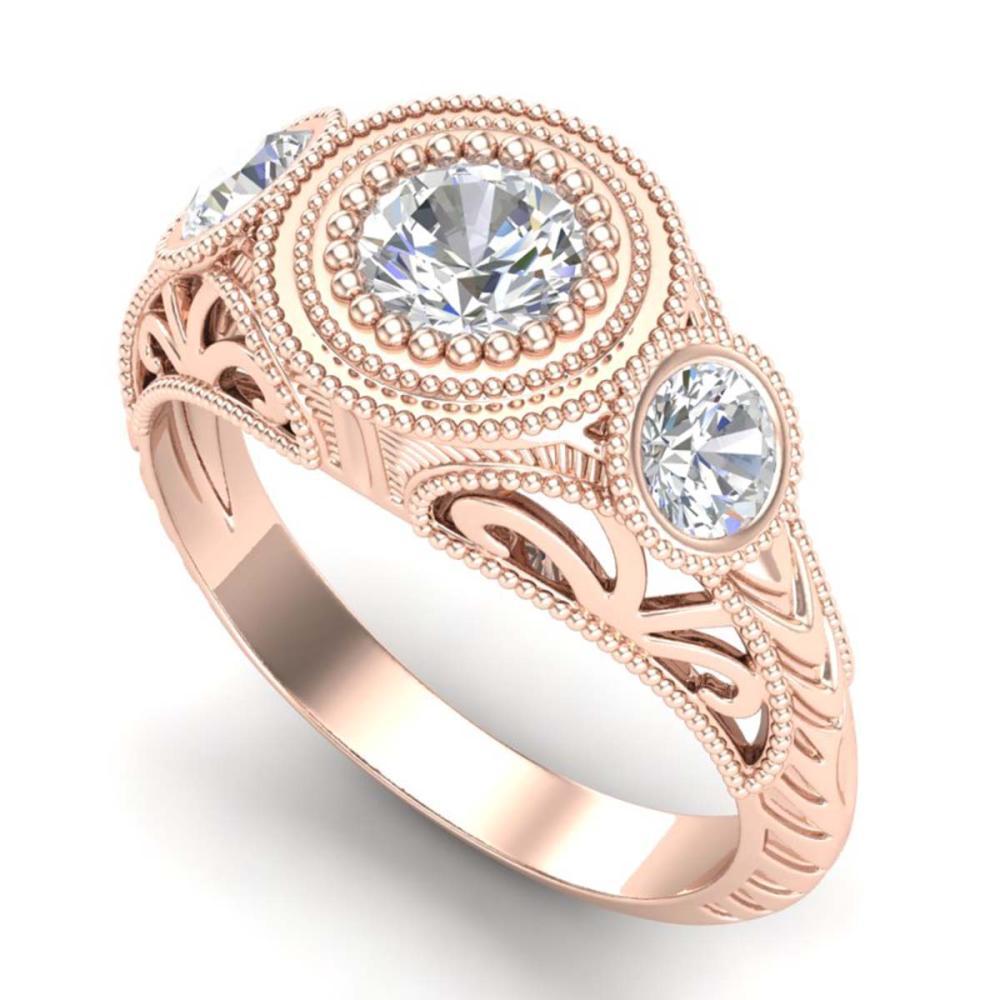 1.06 ctw VS/SI Diamond Solitaire Art Deco 3 Stone Ring 18K Rose Gold - REF-180K2W - SKU:36894