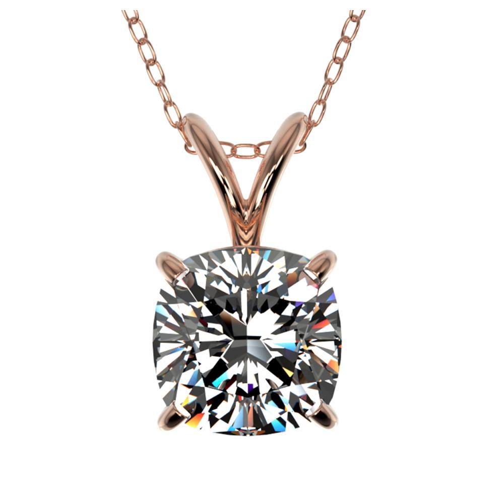 1 ctw VS/SI Cushion Cut Diamond Necklace 10K Rose Gold - REF-292R5K - SKU:33199