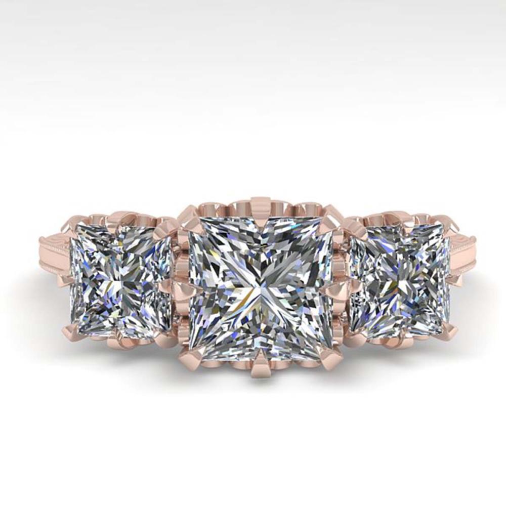2 ctw Past Present Future VS/SI Princess Diamond Ring 18K Rose Gold - REF-414F2N - SKU:35783