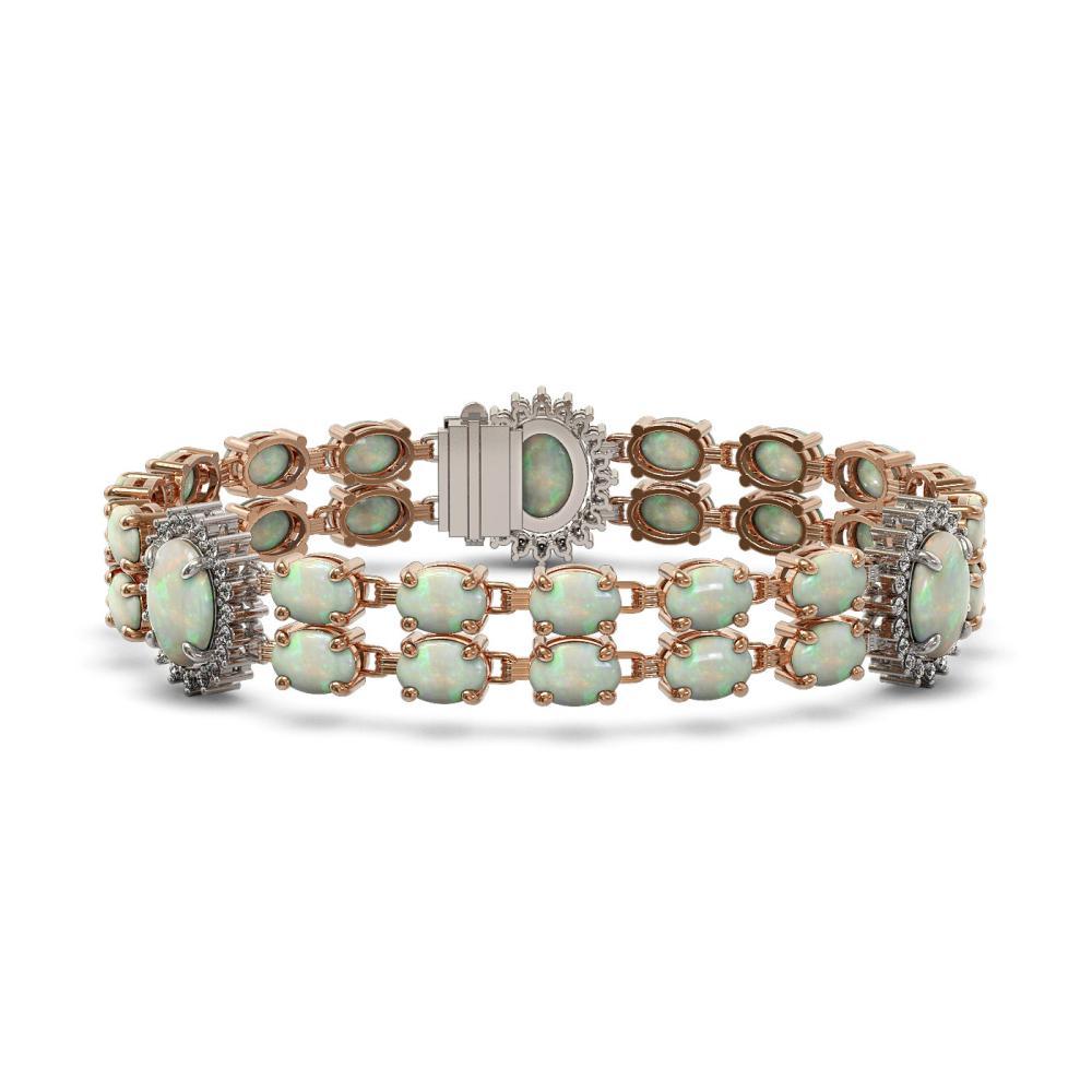 21.87 ctw Opal & Diamond Bracelet 14K Rose Gold - REF-272X3R - SKU:44412