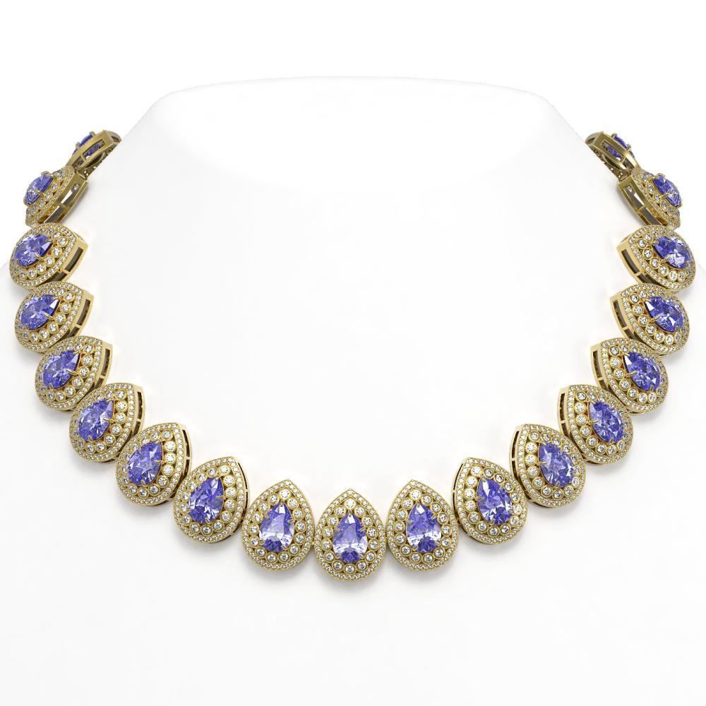 108.42 ctw Tanzanite & Diamond Necklace 14K Yellow Gold - REF-4664R5K - SKU:43237