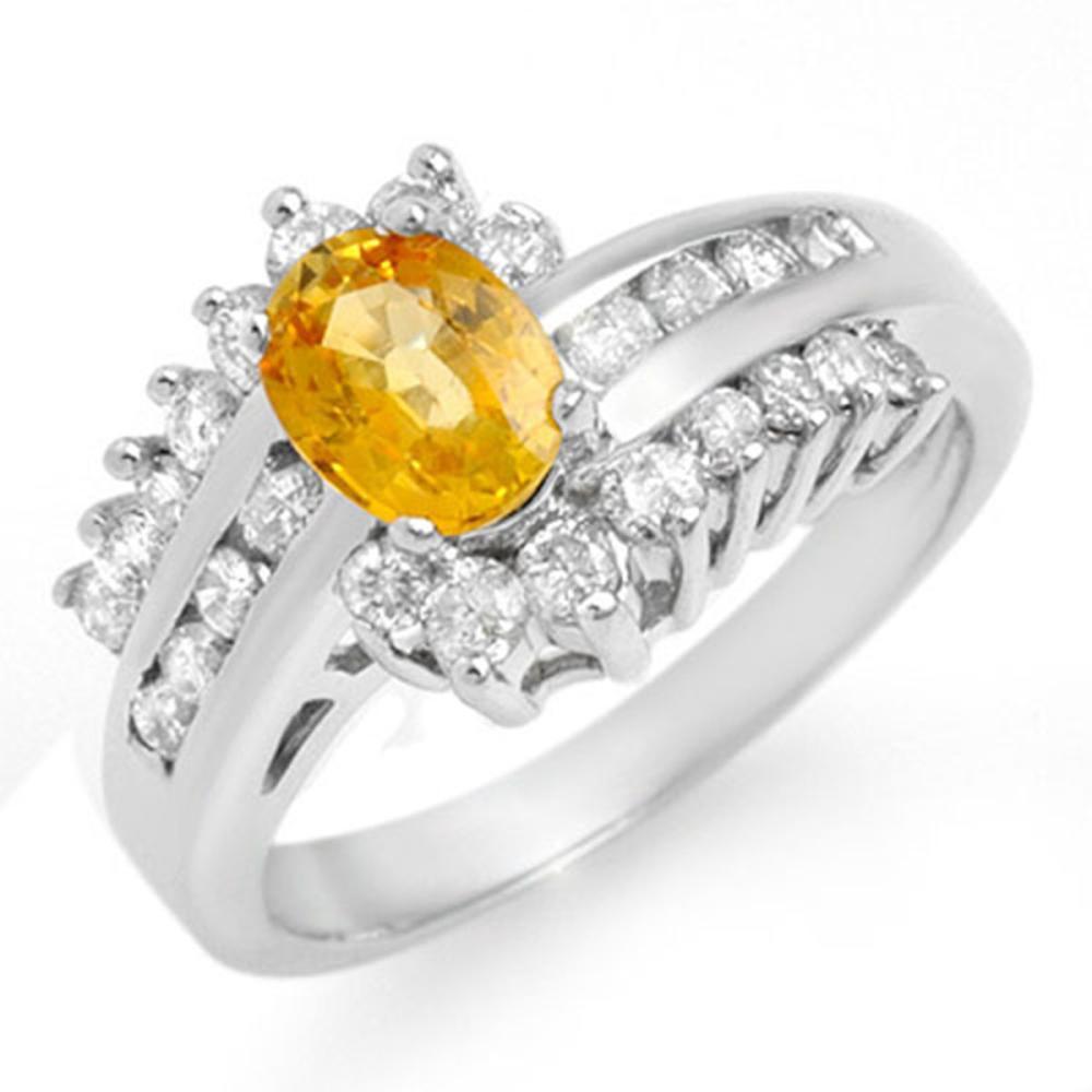 1.77 ctw Yellow Sapphire & Diamond Ring 14K White Gold - REF-78M2F - SKU:13371