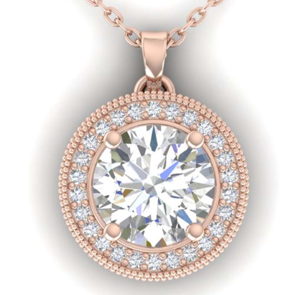 2 ctw I-SI Diamond Art Deco Halo Necklace 14K Rose Gold - REF-593V5Y - SKU:30532