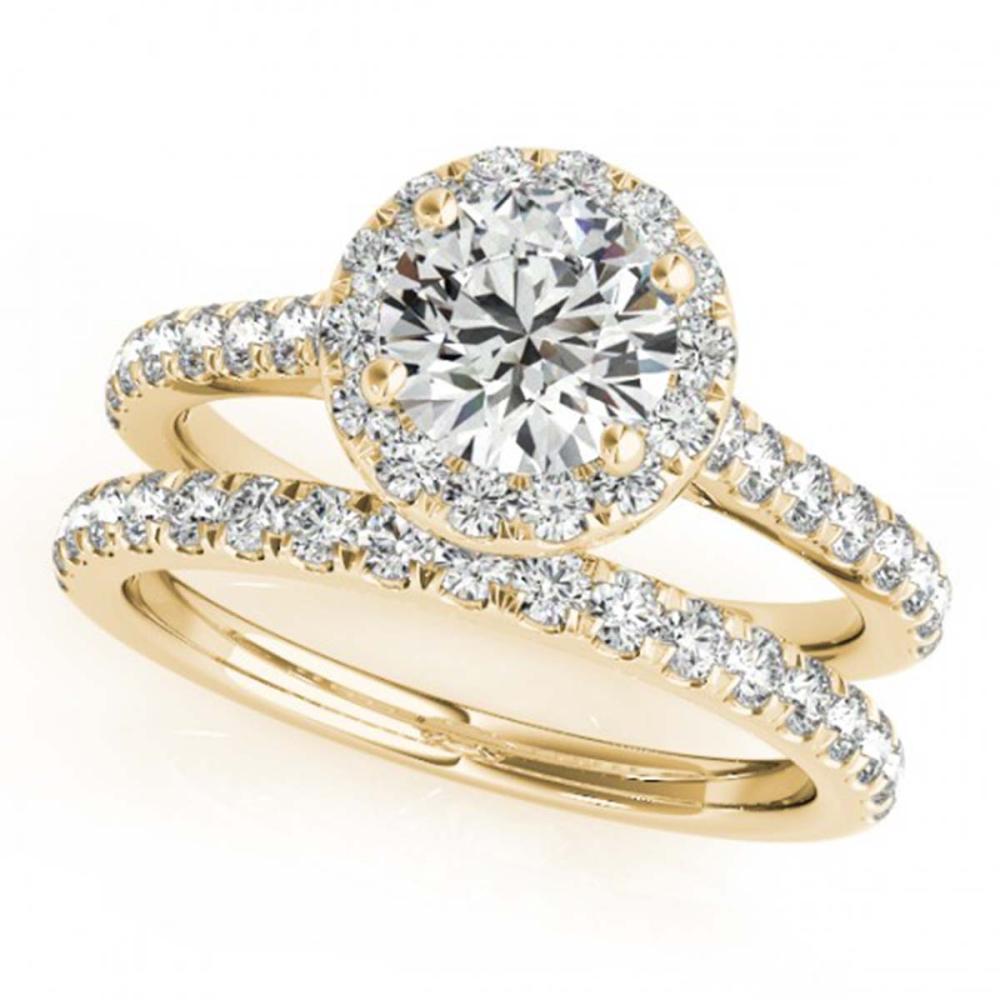 1.42 ctw VS/SI Diamond 2pc Wedding Set Halo 14K Yellow Gold - REF-159R3K - SKU:30839