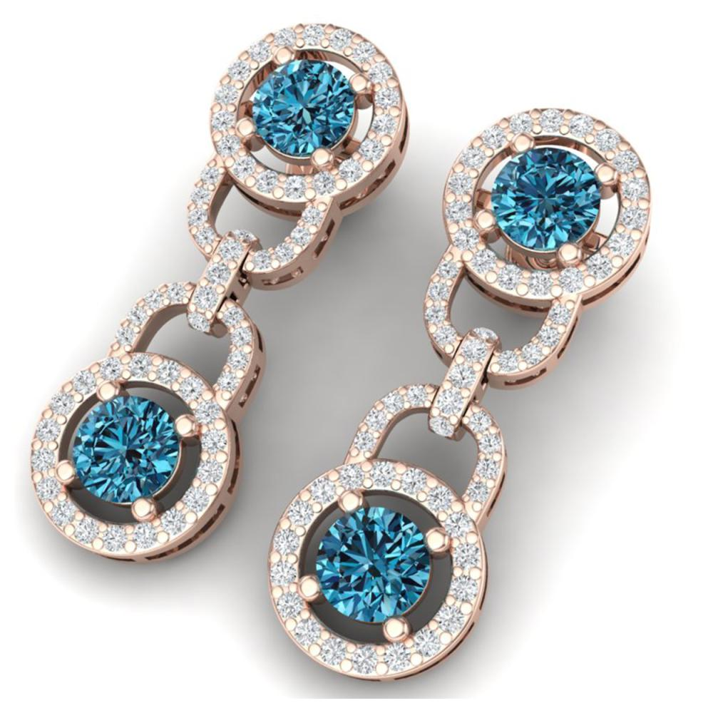 4 ctw SI/I Intense Blue And Diamond Earrings 18K Rose Gold - REF-298N5A - SKU:40107