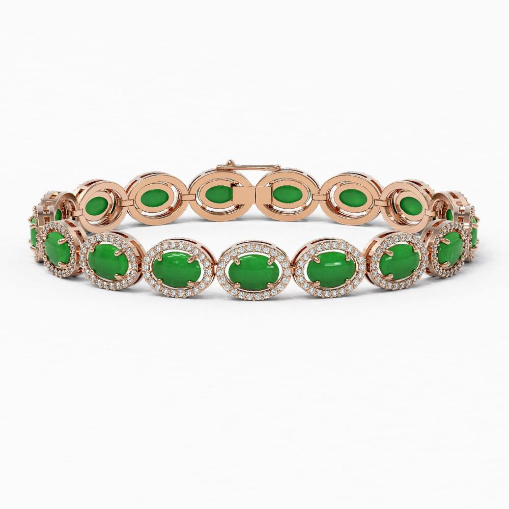 21.78 ctw Jade & Diamond Halo Bracelet 10K Rose Gold - REF-250X9R - SKU:46020