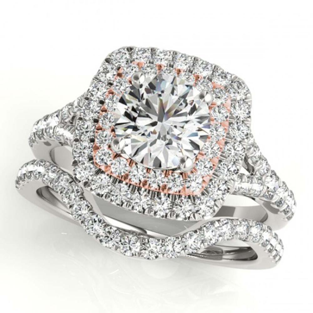 1.82 ctw VS/SI Diamond 2pc Set Solitaire Halo 14K White & Rose Gold - REF-306Y5X - SKU:30703