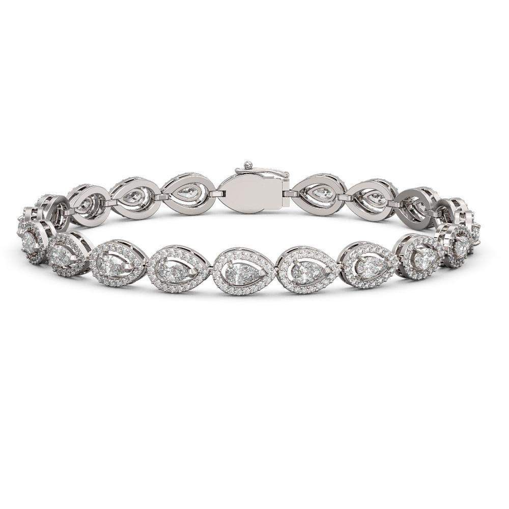 8.58 ctw Pear Diamond Bracelet 18K White Gold - REF-723Y2X - SKU:43040