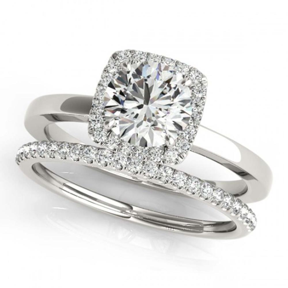 1.33 ctw VS/SI Diamond 2pc Wedding Set Halo 14K White Gold - REF-283F3N - SKU:30735