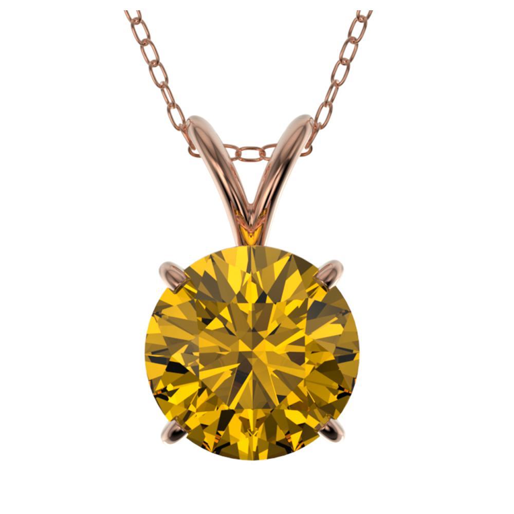 1.50 ctw Intense Yellow Diamond Necklace 10K Rose Gold - REF-285H2M - SKU:33229