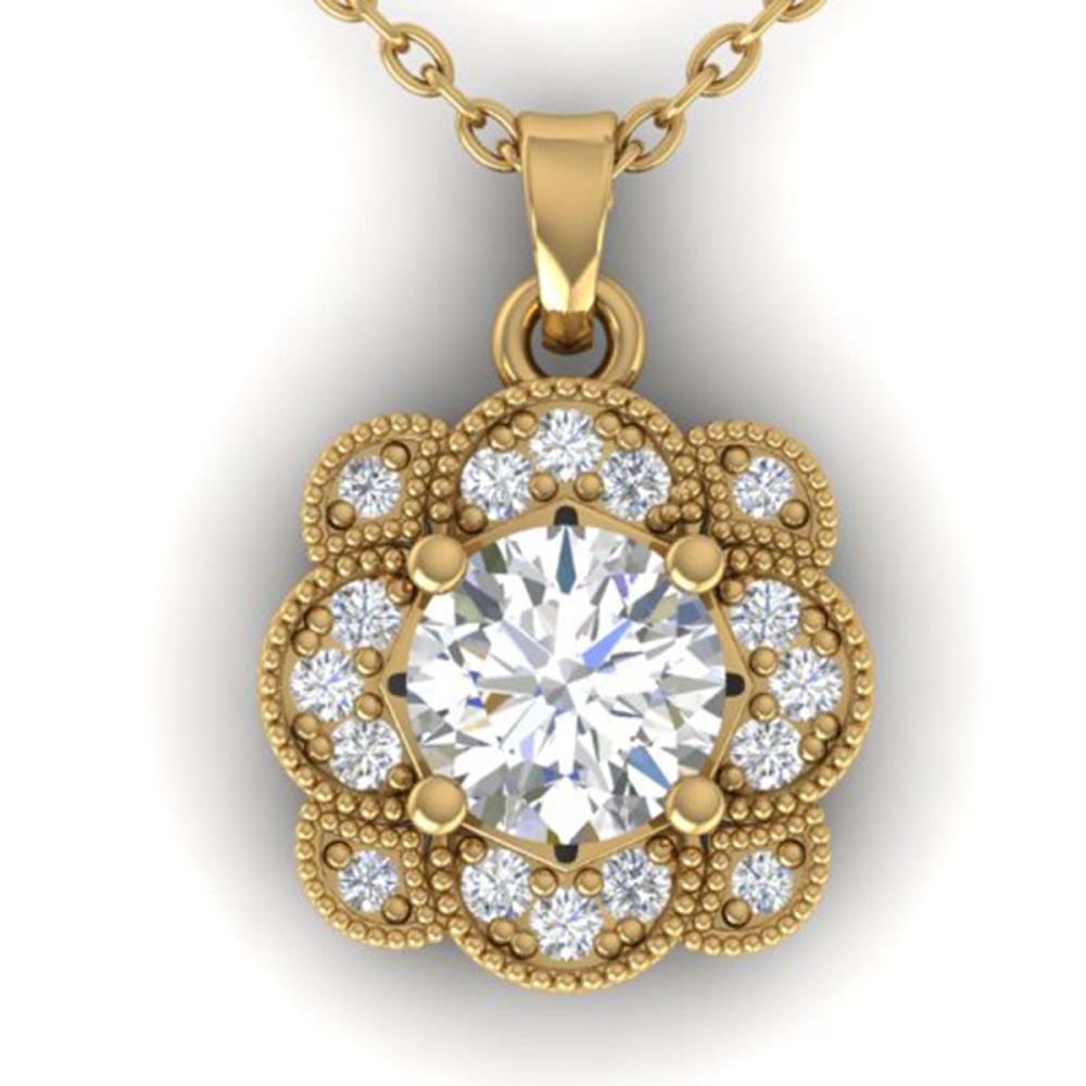 0.75 ctw I-SI Diamond Art Deco Necklace 14K Yellow Gold - REF-104M7F - SKU:30518