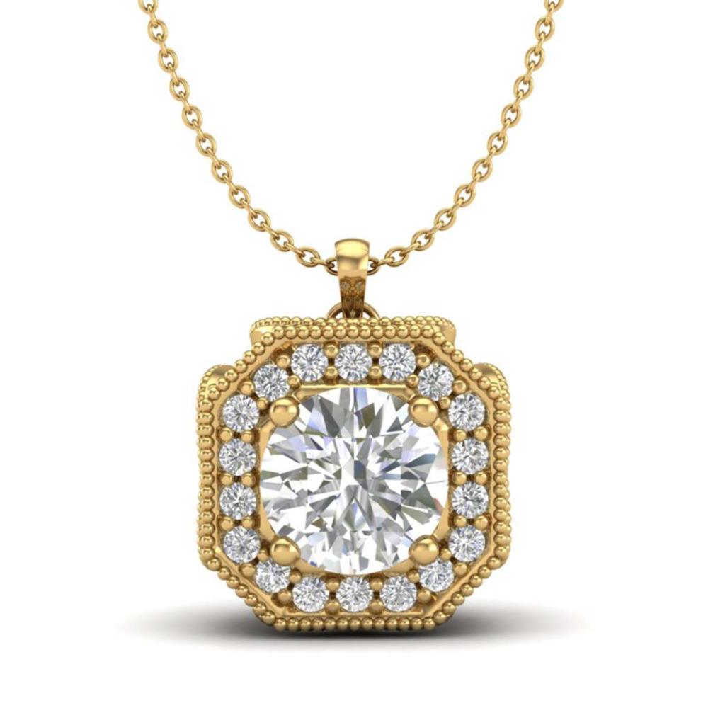 1.54 ctw VS/SI Diamond Solitaire Art Deco Necklace 18K Yellow Gold - REF-409V3Y - SKU:37327