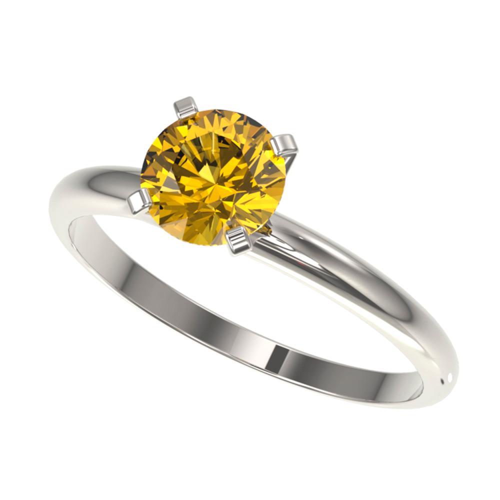 1 ctw Intense Yellow Diamond Ring 10K White Gold - REF-187F5N - SKU:32892