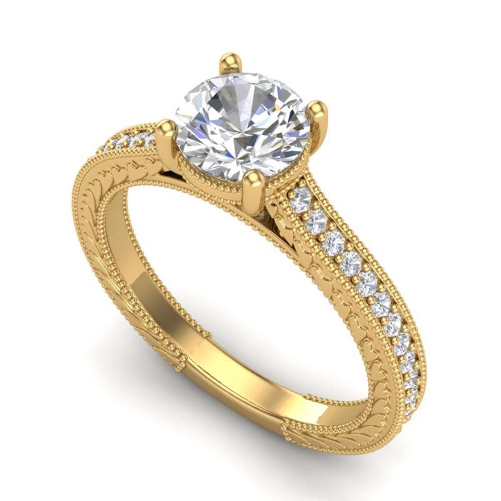 1.45 ctw VS/SI Diamond Art Deco Ring 18K Yellow Gold - REF-400F2N - SKU:37006