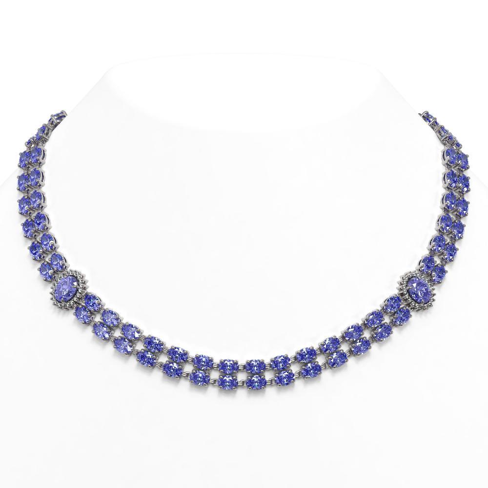 62.77 ctw Tanzanite & Diamond Necklace 14K White Gold - REF-786N7A - SKU:44348