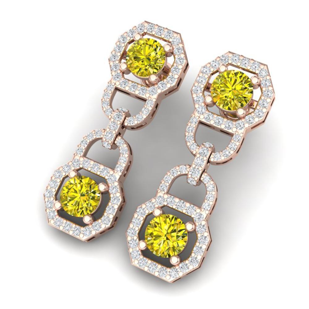 4 ctw SI/I Fancy And Diamond Earrings 18K Rose Gold - REF-330H2M - SKU:40137
