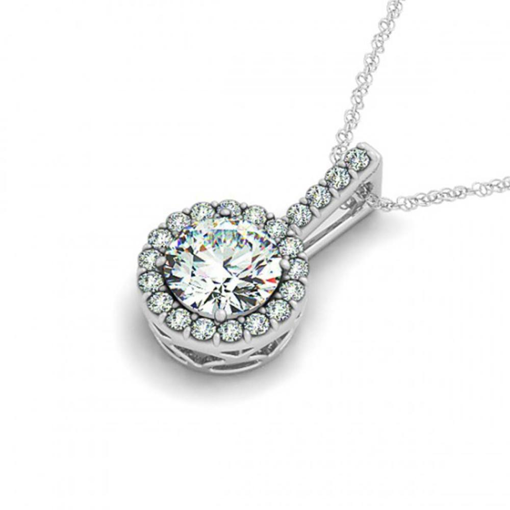 1 ctw SI Diamond Solitaire Halo Necklace 14K White Gold - REF-171Y3X - SKU:29980