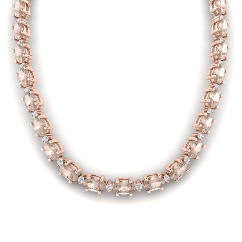 44.25 ctw Morganite & VS/SI Diamond Eternity Necklace 10K Rose Gold - REF-465N5A - SKU:29428