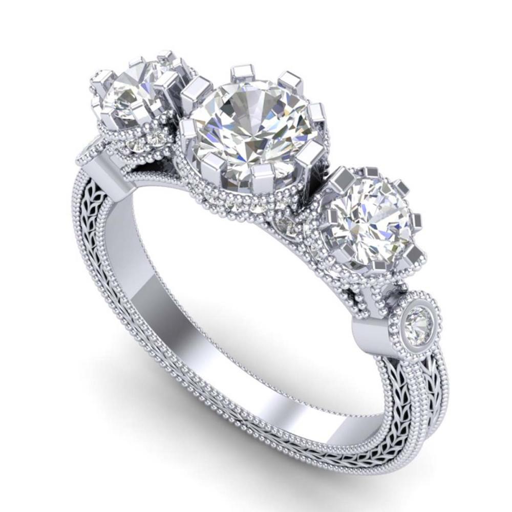 1.75 ctw VS/SI Diamond Solitaire Art Deco 3 Stone Ring 18K White Gold - REF-309Y3X - SKU:37070