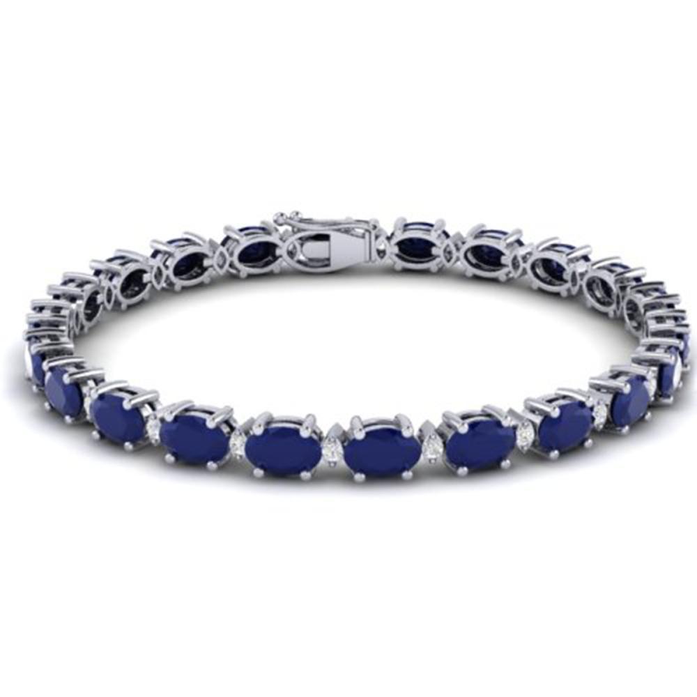 30.8 ctw Sapphire & VS/SI Diamond Eternity Bracelet 10K White Gold - REF-245R5K - SKU:29461