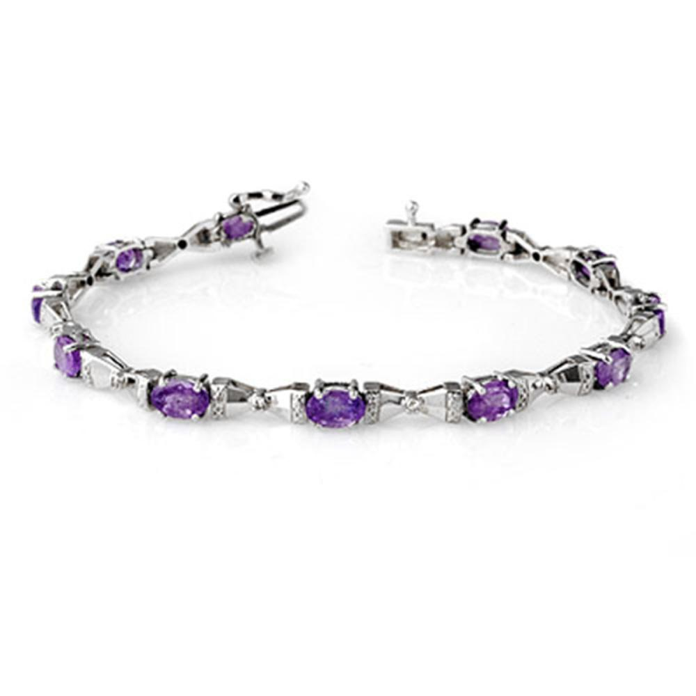 6.11 ctw Tanzanite & Diamond Bracelet 14K White Gold - REF-136Y4X - SKU:13397