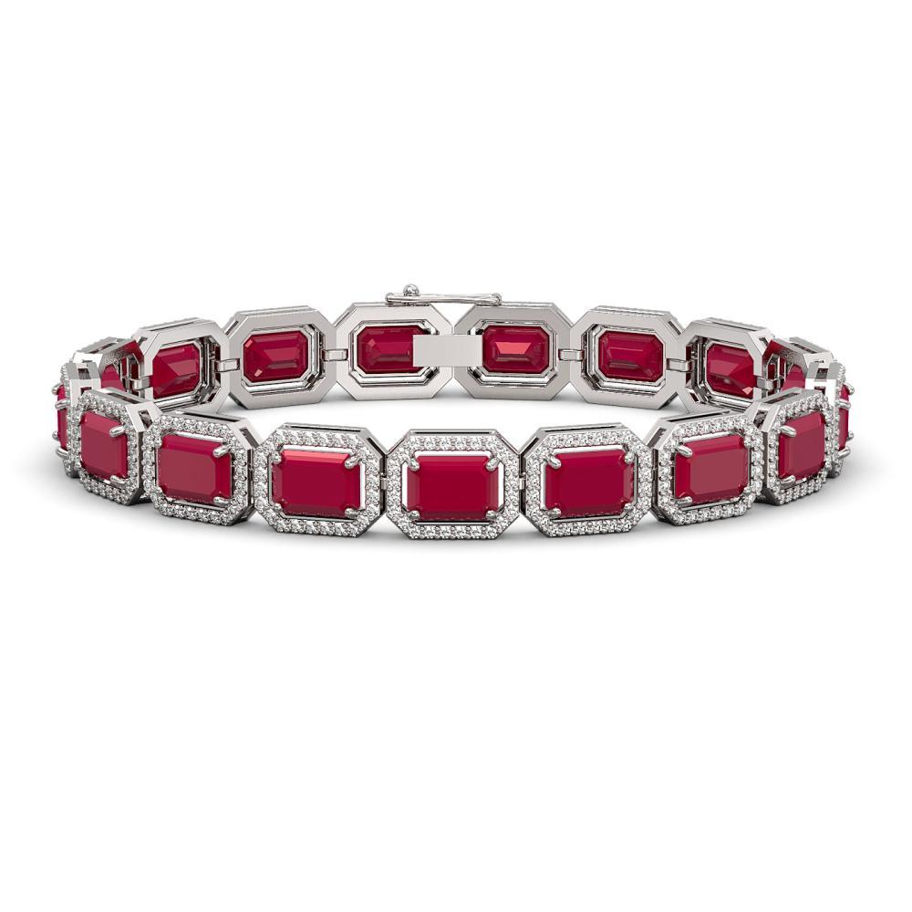 26.21 ctw Ruby & Diamond Halo Bracelet 10K White Gold - REF-347K8W - SKU:41381