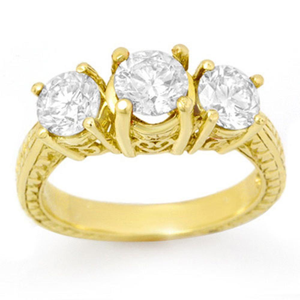 1.75 ctw VS/SI Diamond 3 Stone Ring 14K Yellow Gold - REF-259F4N - SKU:14091