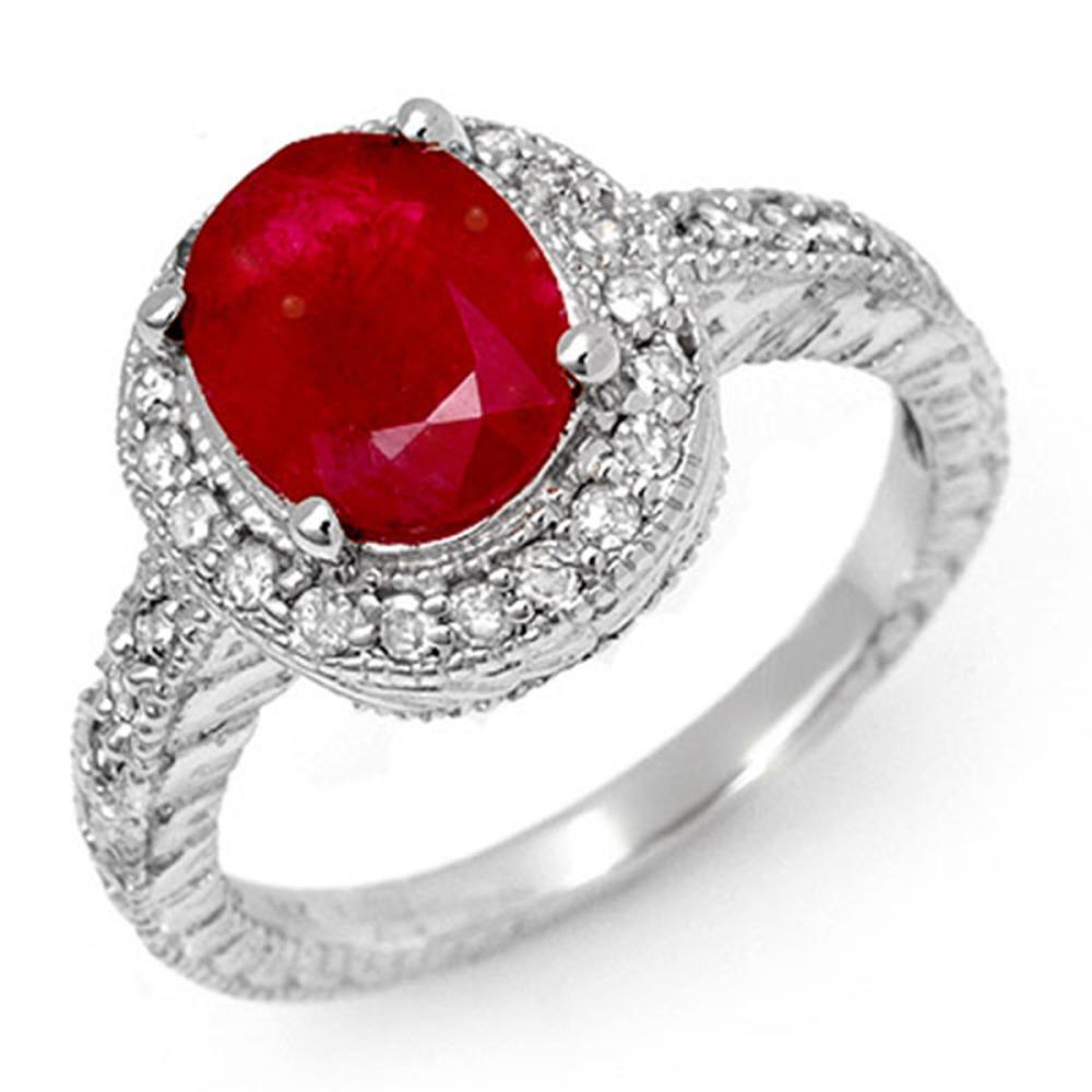 2.50 ctw Ruby & Diamond Ring 14K White Gold - REF-70F9N - SKU:11927