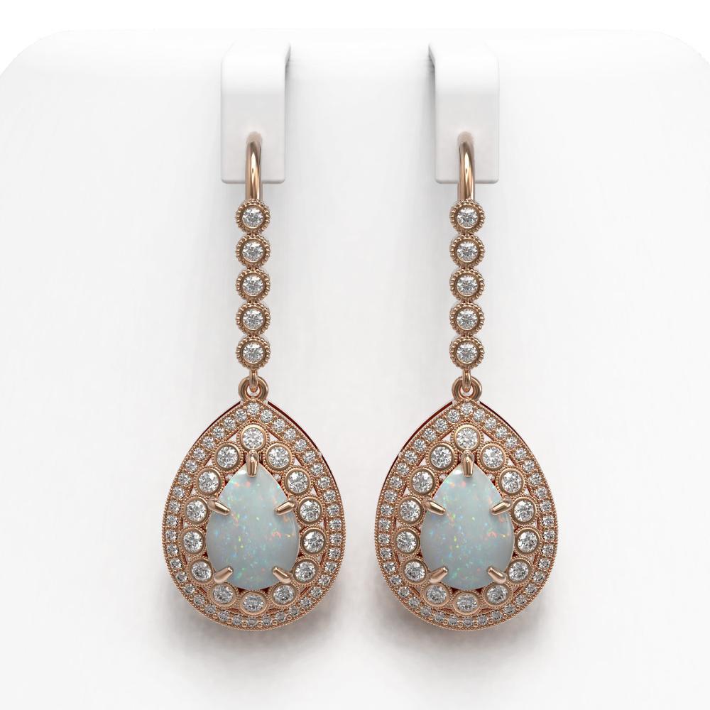 8.29 ctw Opal & Diamond Earrings 14K Rose Gold - REF-268W9H - SKU:43164