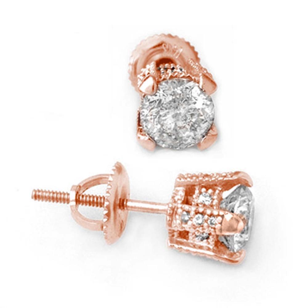 1.0 ctw VS/SI Diamond Stud Earrings 14K Rose Gold - REF-125N8A - SKU:10502