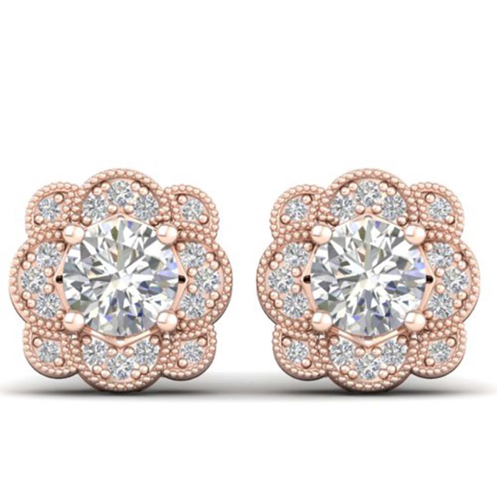 1.50 ctw VS/SI Diamond Art Deco Stud Earrings 14K Rose Gold - REF-196W2H - SKU:30514