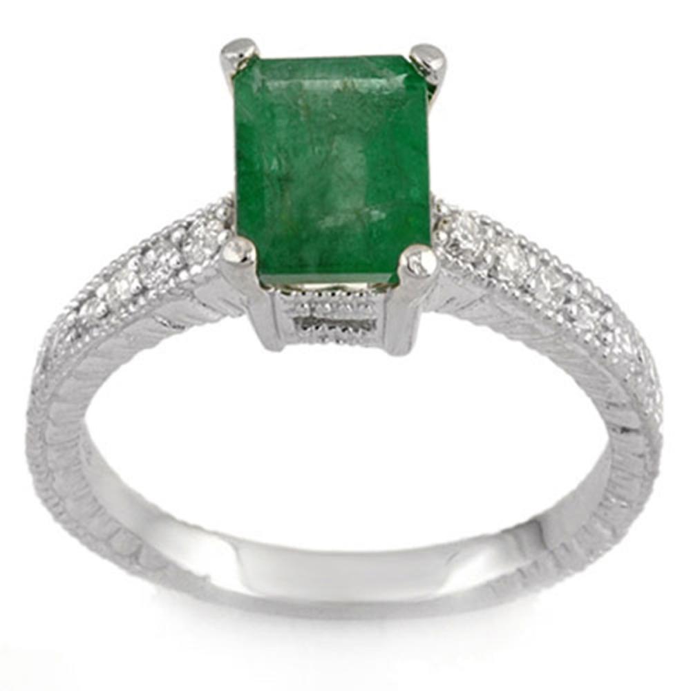 2.15 ctw Emerald & Diamond Ring 14K White Gold - REF-54V5Y - SKU:11586
