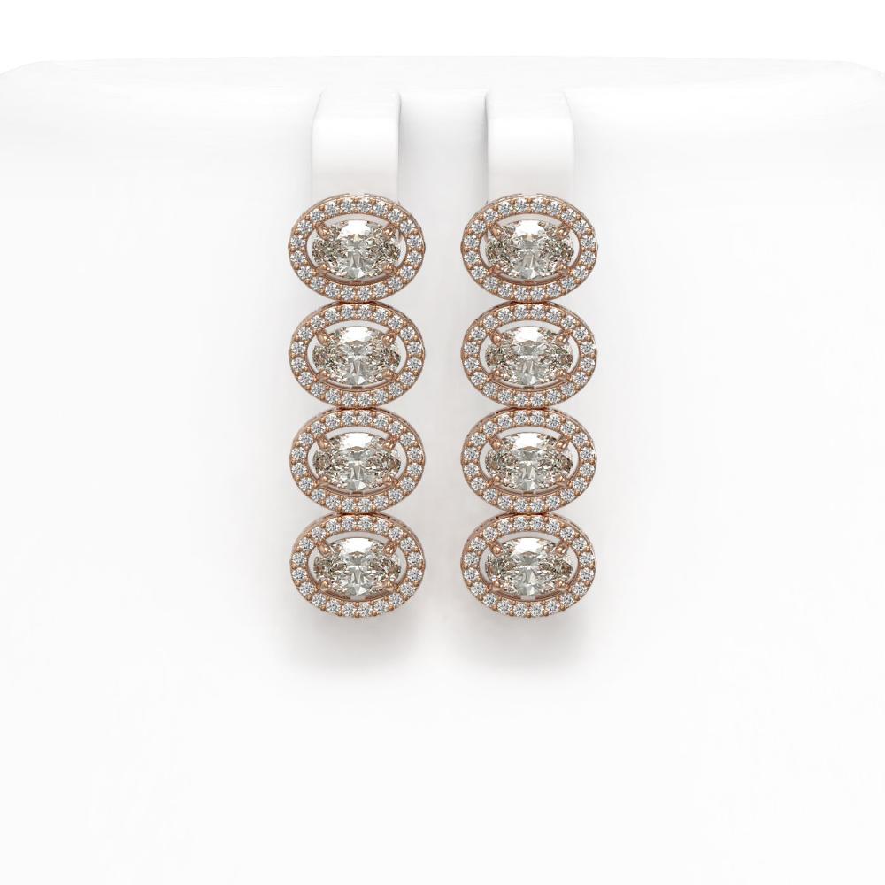 5.92 ctw Oval Diamond Earrings 18K Rose Gold - REF-821X2R - SKU:42819