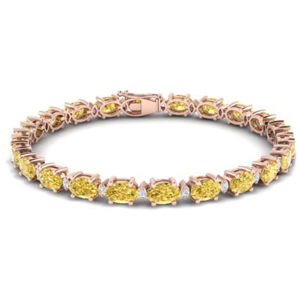 25.8 ctw Citrine & VS/SI Diamond Eternity Bracelet 10K Rose Gold - REF-118W4H - SKU:29448