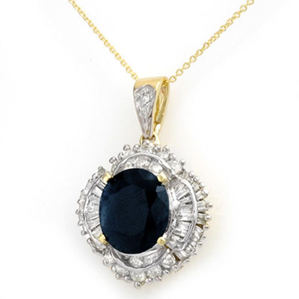 6.53 ctw Blue Sapphire & Diamond Pendant 14K Yellow Gold - REF-180X2R - SKU:12937