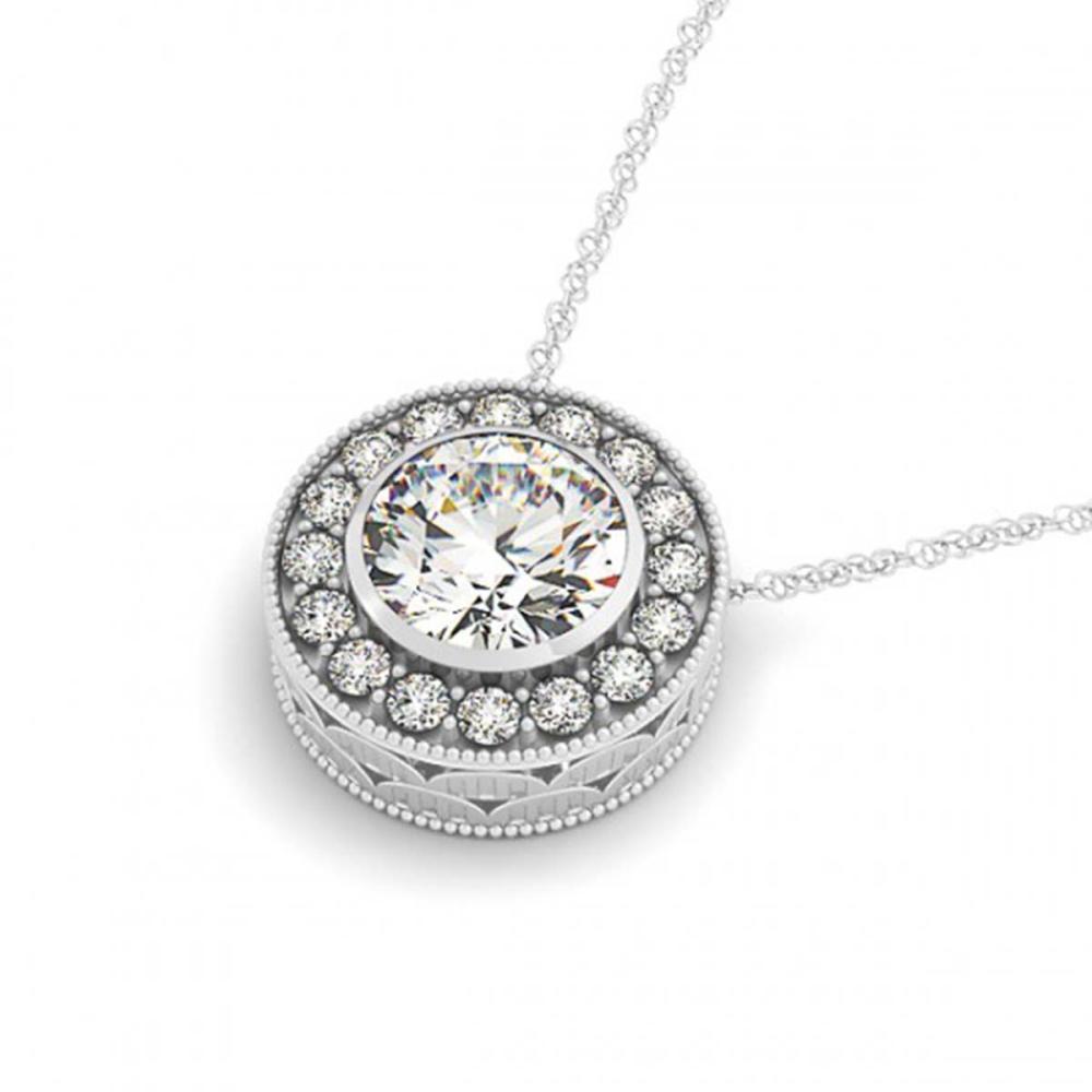 1.25 ctw VS/SI Diamond Halo Necklace 14K White Gold - REF-285M5F - SKU:29995