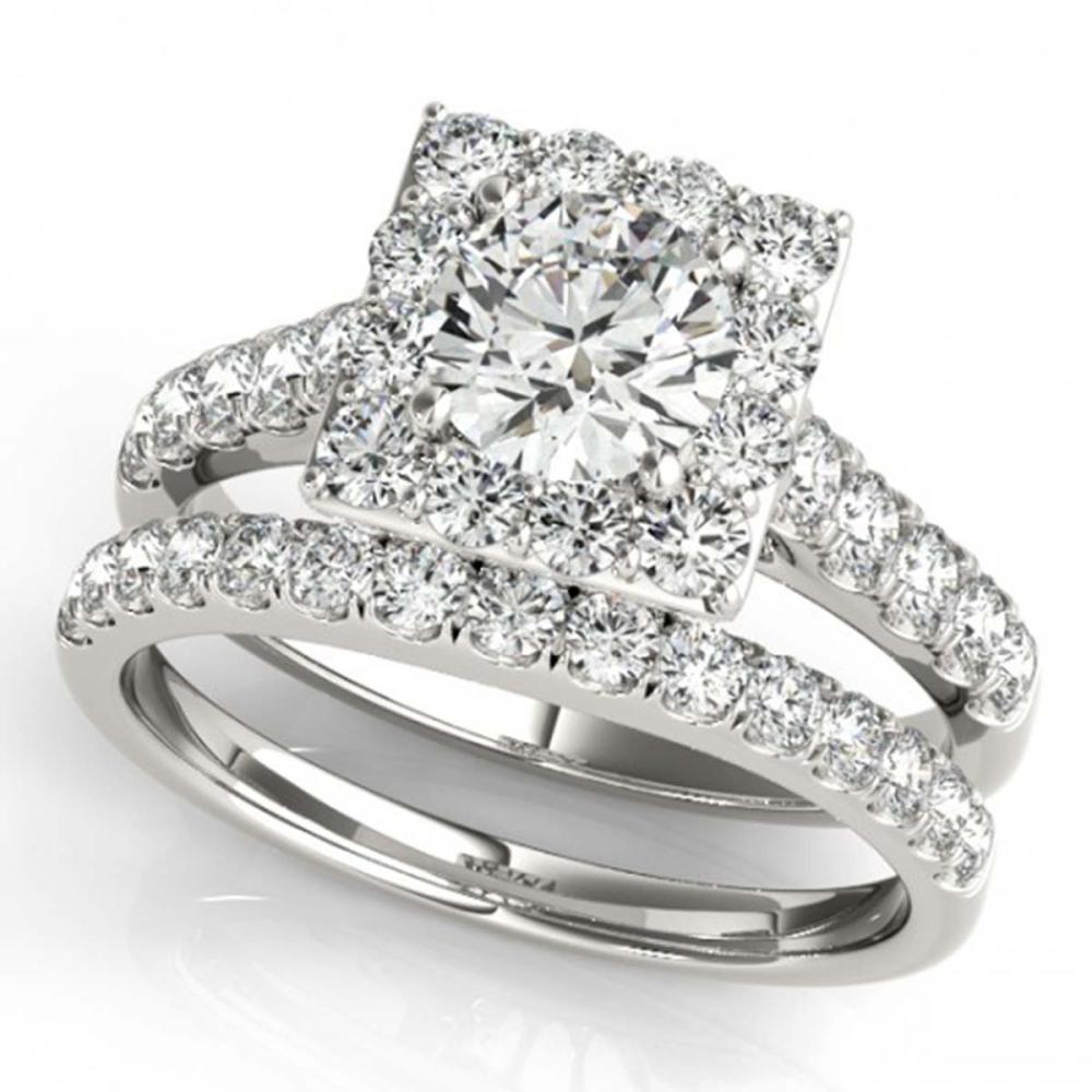 2.29 ctw VS/SI Diamond 2pc Wedding Set Halo 14K White Gold - REF-326W3H - SKU:31187