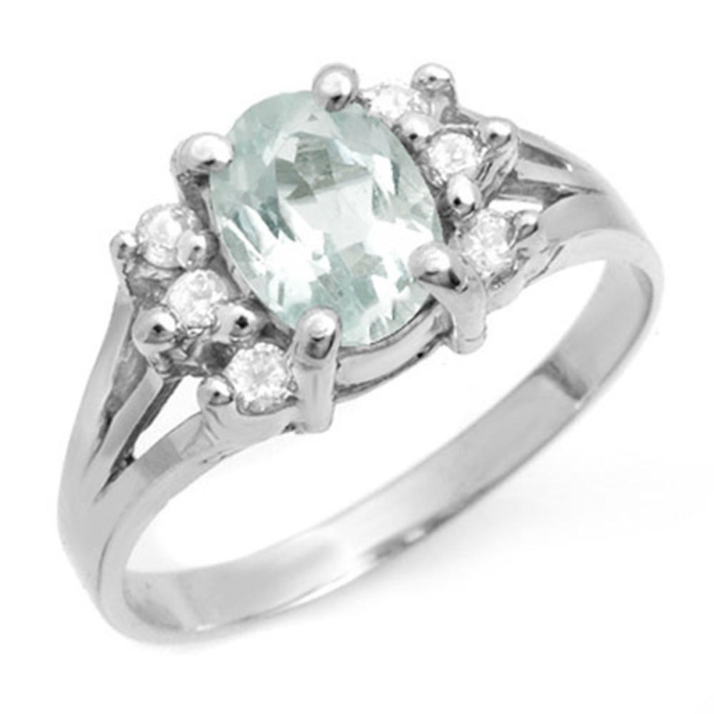 1.43 ctw Aquamarine & Diamond Ring 18K White Gold - REF-45K5W - SKU:14410