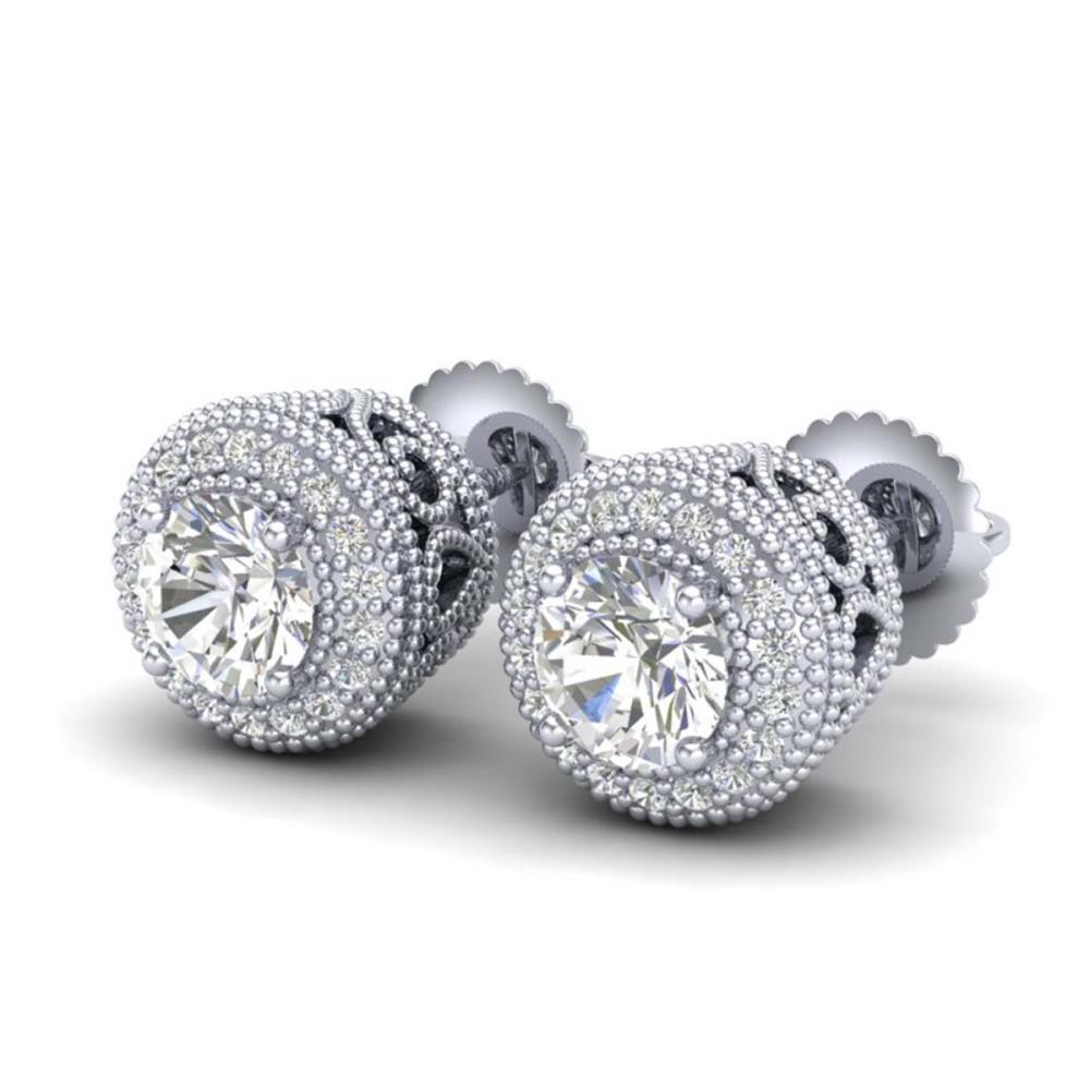 1.55 ctw VS/SI Diamond Solitaire Art Deco Stud Earrings 18K White Gold - REF-259V3Y - SKU:36962
