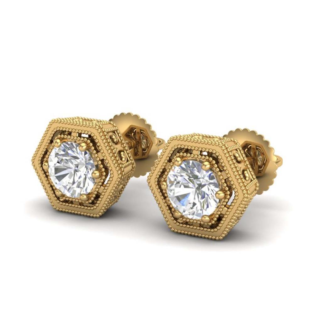 1.07 ctw VS/SI Diamond Solitaire Art Deco Stud Earrings 18K Yellow Gold - REF-190X9R - SKU:36901