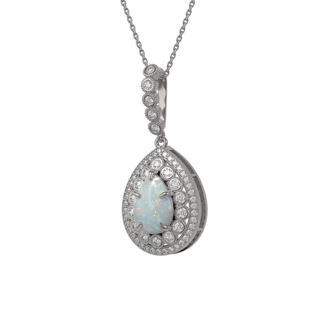 4.14 ctw Opal & Diamond Necklace 14K White Gold - REF-139V3Y - SKU:43217