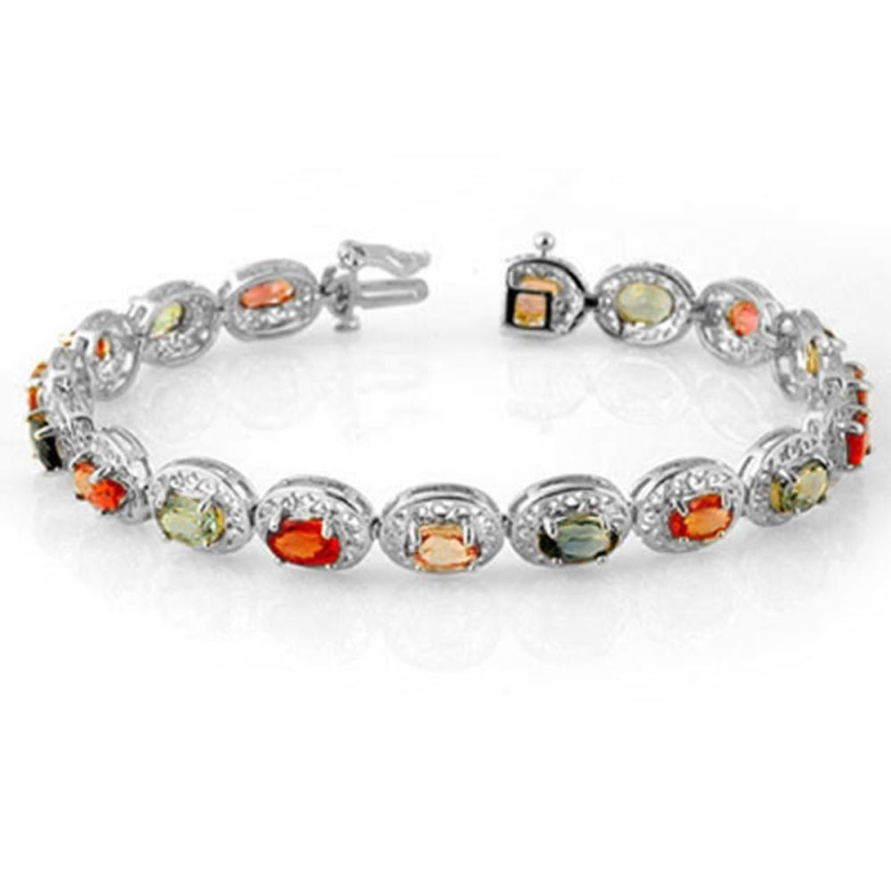 12.90 ctw Multi-Color Sapphire Bracelet 18K White Gold - REF-154X2R - SKU:11707
