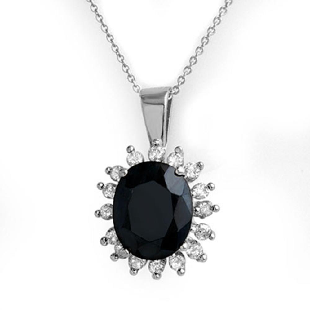 5.20 ctw Blue Sapphire & Diamond Pendant 14K White Gold - REF-87W3H - SKU:12764