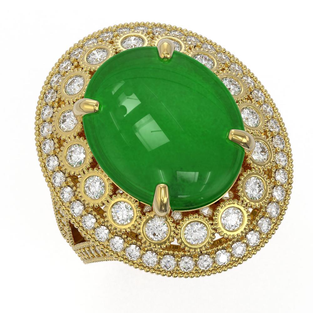 9.27 ctw Jade & Diamond Ring 14K Yellow Gold - REF-207M8F - SKU:46133